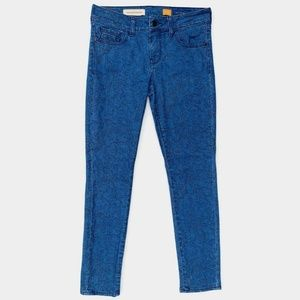 Pilcro and the Letterpress Jeans - Pilcro Anthropologie Blue Floral Skinny Jeans 27